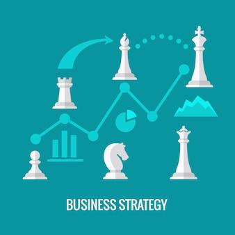 Geschäftsstrategie mit flachem vektorkonzept des schachs