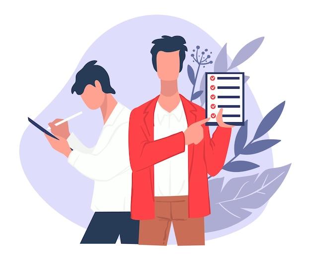 Geschäftsstrategie oder leiter des unternehmens, das aufgaben gibt. geschäftsmann mit checkliste in der zwischenablage. management bei der arbeit oder fragebogen. inspektion und recherchen, fragen und antworten vektor im flachen stil