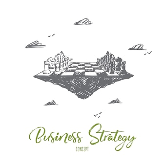 Geschäftsstrategie, schach, taktik, wettbewerb, konfrontationskonzept. hand gezeichnetes schachbrett als symbol der realen geschäftskonzeptskizze.