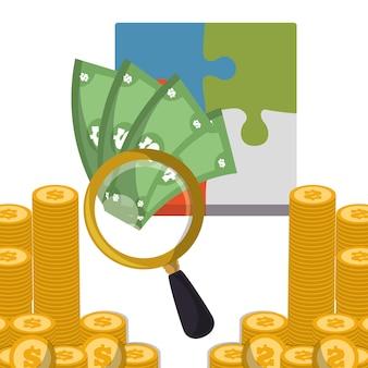 Geschäftsstrategie suchen geld münzen
