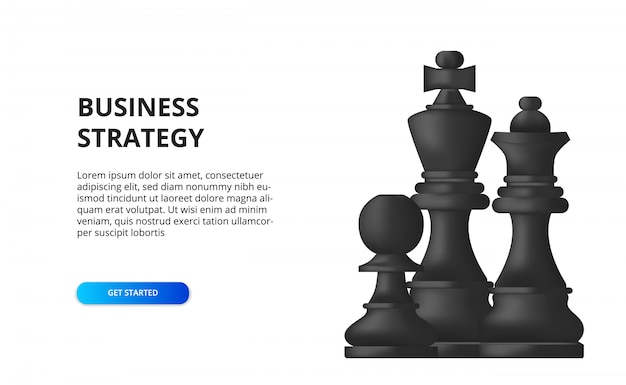 Geschäftsstrategie. taktischer plan für den erfolg. abbildung von schach, bauer, könig, königin schwarz.