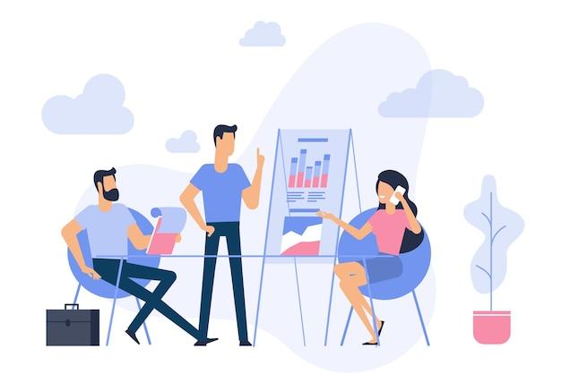 Geschäftsstrategie und analyse des flachen entwurfs trendy illustrationskonzept für website und mobile app