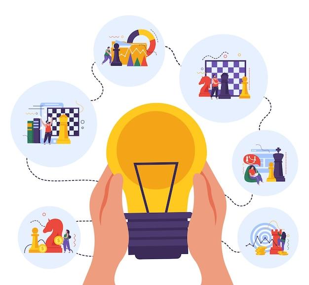 Geschäftsstrategie und ideenillustration mit schachbrettern und figuren