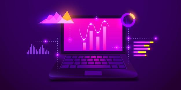 Geschäftsstrategie- und planungsdatenanalyse und investmentgeschäftserfolgscomputer mit infograph...