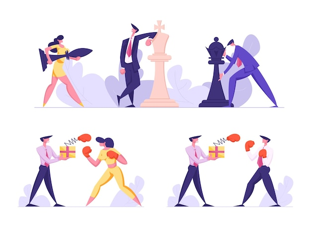 Geschäftsstrategie und unfairer kampf setzen geschäftsleute ein, die großes schach spielen