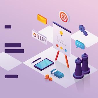 Geschäftsstrategieelement für webseite mit isometrischem stil