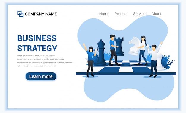 Geschäftsstrategiekonzept mit beweglichen schachfiguren der leute auf schachbrett.