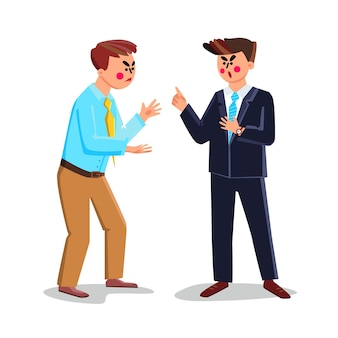 Geschäftsstreit oder interessenkonflikt vektor. geschäftsleute streiten und schreien miteinander im büro, im geschäftlichen streit und im kommunikationsproblem. charaktere flache cartoon-illustration