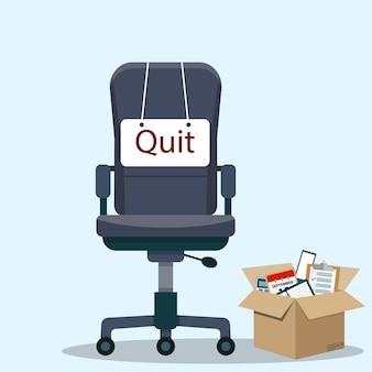 Geschäftsstuhl mit quittungsnachricht von mitarbeiter oder chef. vektorillustration im flachen stil Premium Vektoren