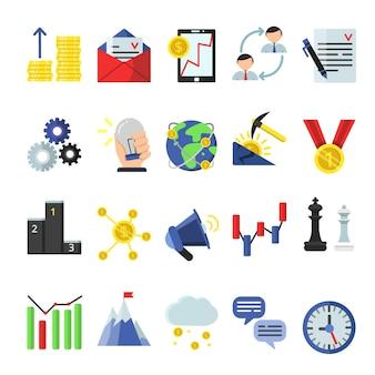 Geschäftssymbol im flachen stil eingestellt. geschäftssymbol und -ikone, geld und idee, ziel- und belohnungsillustration
