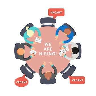 Geschäftsteam auf der suche nach mitarbeitern. frei, wir stellen konzept ein