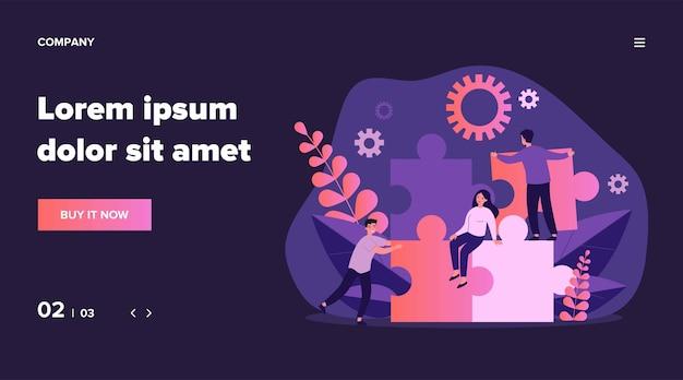 Geschäftsteam beim aufbau einer puzzle-lösung. menschen, die große puzzleteile verbinden. illustration für community, fusion, entdeckung, teamwork-konzept