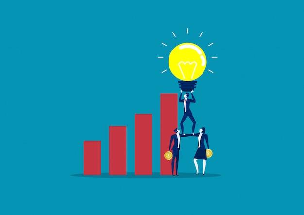 Geschäftsteam, das glühlampen der idee über geschäftsdiagrammwachstum hält. ideen-vektorillustration des konzeptgeschäfts kreative