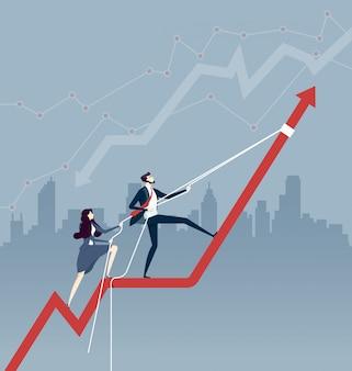 Geschäftsteam, das pfeildiagrammdiagramm mit einem seil hochzieht. unternehmenskonzept
