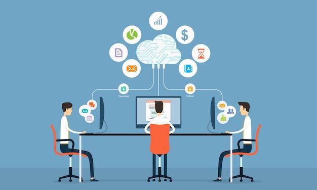 Geschäftsteam, das verbindung mit cloud computing arbeitet Premium Vektoren