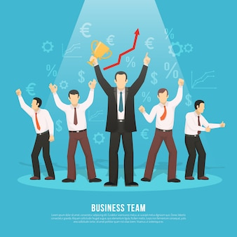 Geschäftsteam-erfolg-flaches plakat