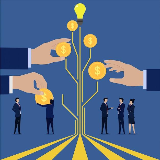 Geschäftsteam erhalten zahlung von ihrem ideenbaum