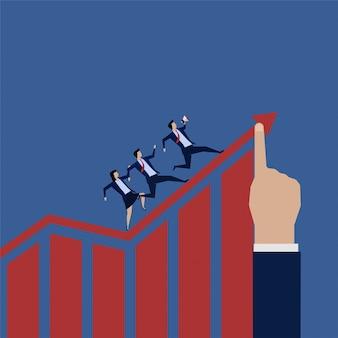 Geschäftsteam herumlaufen wachsen diagramm hoch.