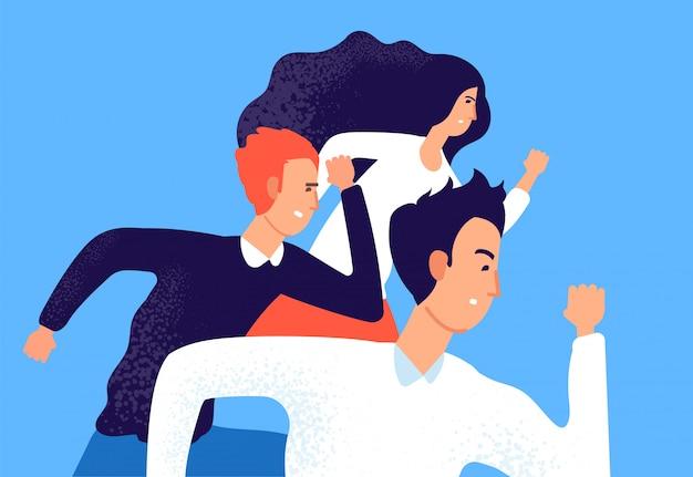 Geschäftsteam leiten. professioneller unternehmenswettbewerb, gegnerische arbeiter laufen zum erfolg.