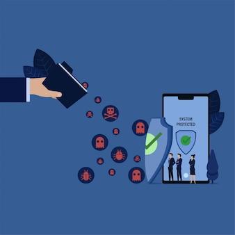 Geschäftsteam sehen ordnerverbreitungsvirus zum telefon, das durch schild geschützt wird.