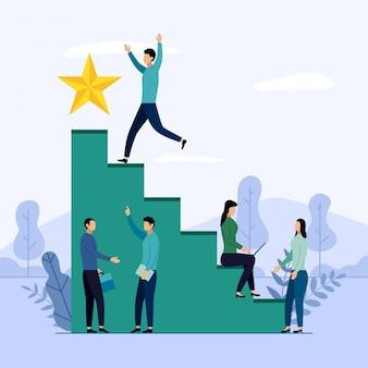 Geschäftsteam und wettbewerb, leistung, erfolgreich, herausforderung, geschäftsillustration