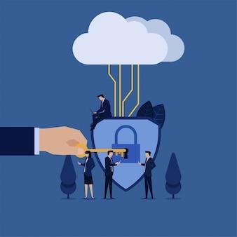 Geschäftsteamgriff-telefontablette im vorderen verschlossenen schild schloss an wolkenmetapher der sicheren verbindung an.