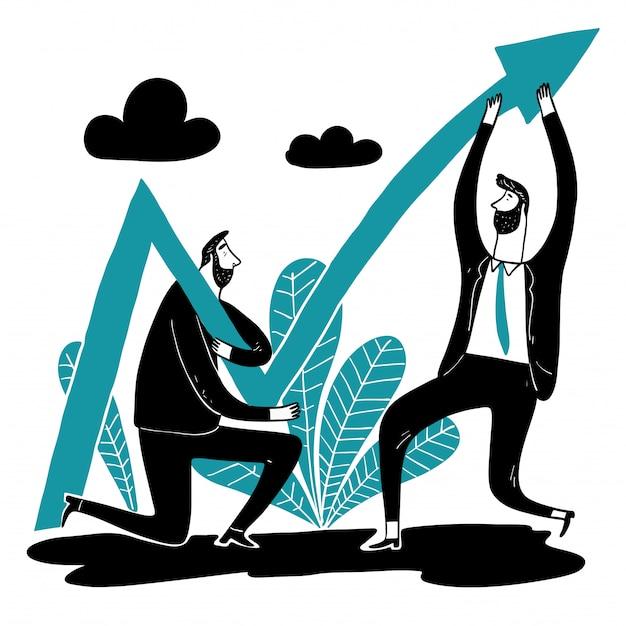 Geschäftsteamhilfe heben den pfeil der aktie an.