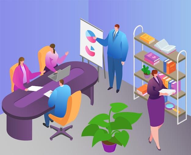 Geschäftsteamwork im isometrischen büro, vektorillustration. flache mann-frauen-charakter arbeiten im raum, team verwenden infografik-analysebericht. leute, die am tisch sitzen, mann zeigen diagramm auf der konferenz.