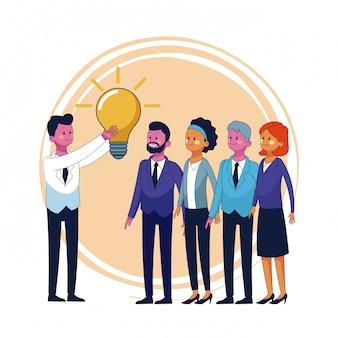Geschäftsteamwork mit großer idee