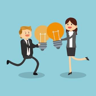 Geschäftsteamwork mit idee