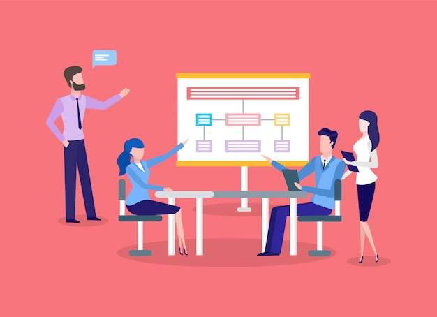 Geschäftstreffen, diagrammpräsentation, teamwork