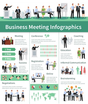 Geschäftstreffen infographik set. informationen zu geschäftstreffen.