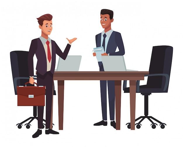 Geschäftstreffen-karikatur