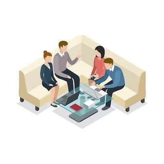 Geschäftstreffen mit isometrischer illustration der kunden