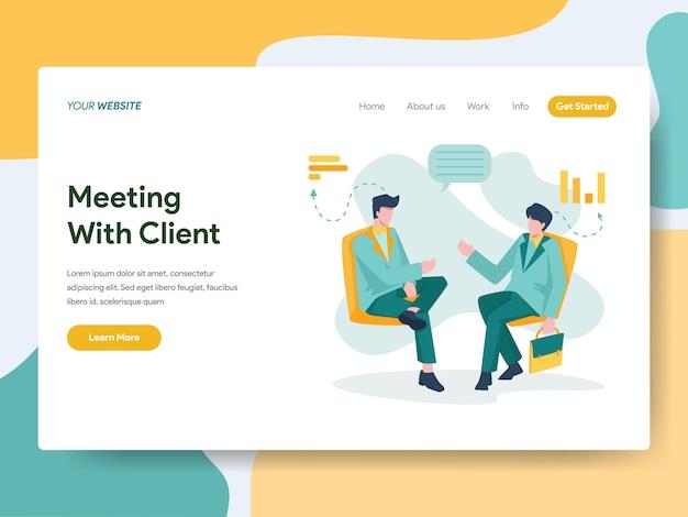 Geschäftstreffen mit kunden für website-seite