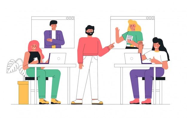 Geschäftstreffen mit online-videokonferenz im büro mit personen, personen, die telefonieren und nachrichten senden