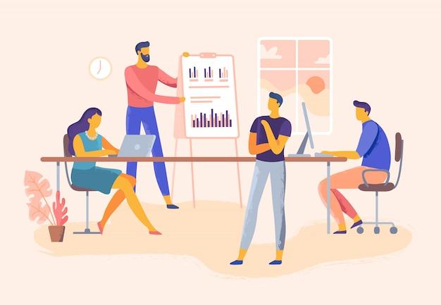 Geschäftstreffen, präsentation der office-teamfähigkeiten, unternehmensführung und planung der teamarbeit