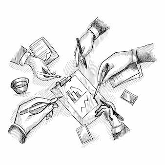 Geschäftstreffen-skizze mit draufsicht auf menschliche hände, die notizen schreiben