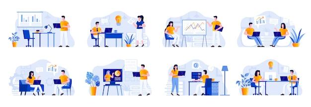 Geschäftstreffen-szenen werden mit personencharakteren gebündelt. manager macht präsentation, teamwork von kollegen in unternehmenssituationen. unternehmenspartnerschaft und führung flache illustration