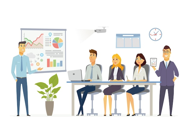 Geschäftstreffen - vektorillustration einer bürosituation. zeichentrickfiguren junger männer, frauen bei der arbeit. männlicher kollege, der präsentationen macht, diagramme zeigt, berichte erstellt, personal schult