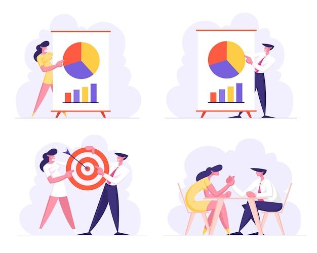 Geschäftstreffen, zielerreichung der projektpräsentation