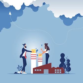 Geschäftsumfeldkonzept - stopp der unternehmensgruppe stoppt die luftverschmutzung