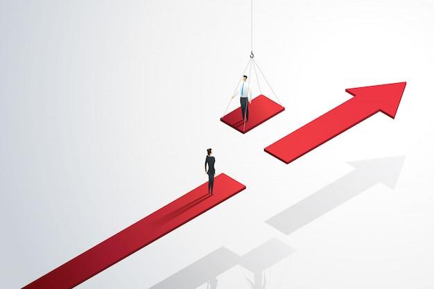 Geschäftsunterstützung hilft seinem team, die brücke zum wachstumserfolg zu schlagen. Premium Vektoren