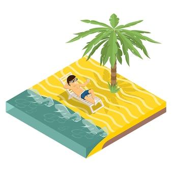 Geschäftsurlaub. geschäftsmann am strand unter palme in der isometrischen ansicht