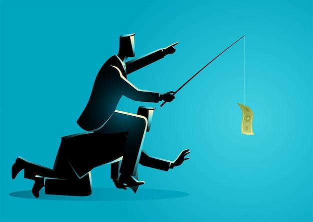 Geschäftsvektorillustration eines geschäftsmannes, der auf dem rücken eines anderen geschäftsmannes oder angestellten reitet, indem er geld als köder, moderne sklaverei in der geschäftswelt gibt