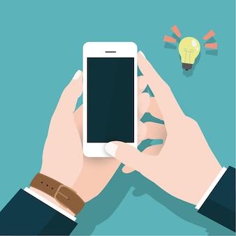 Geschäftsvektorkonzept mit der hand, die smartphone hält