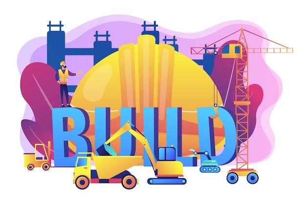 Geschäftsverkehr aufbauen. moderne baumaschinen, schwermaschinen für den bau, industrie und schwermaschinen zur miete konzept.