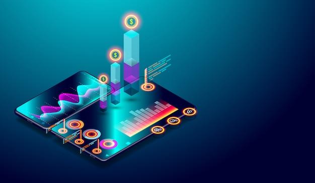 Geschäftsverlaufsanalyse auf isometrischem smartphone-bildschirm