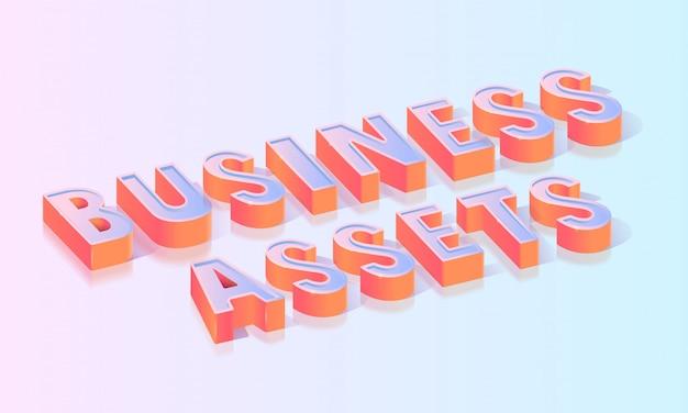 Geschäftsvermögenswert-titel-isometrische vektor-schablone