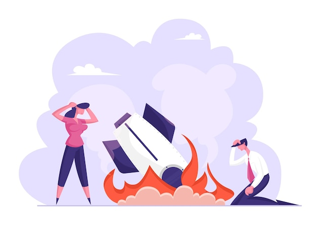 Geschäftsversagen, absturz. geschäftsmann geschäftsfrau stand bei burning crashed startup rocket